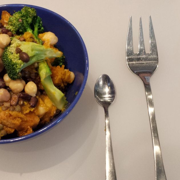 Another iteration of the Epic Lunch with brocolli, and giant fork/mini spoon combo