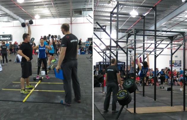 Tim's single arm thruster; me smashing toes to bar